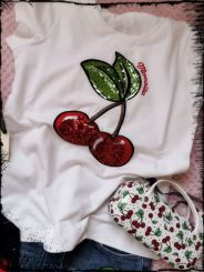 Monnalisa T-Shirt Ciliegia Paillette