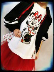 Monnalisa Tunika T-Shirt Balze Pois Minnie Maus