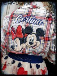 Monnalisa Bluse Camicia St. Check Minnie Maus