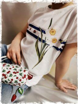 Monnalisa T-Shirt Righe + Fiori